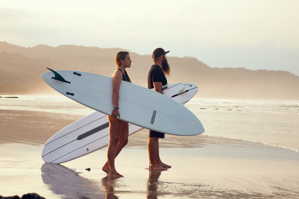 lifestyle on the beach with boards