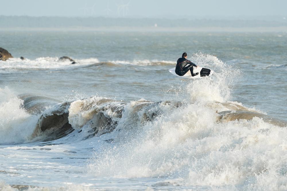 testing surf board ocean